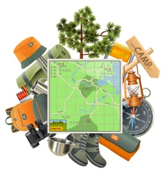 Camping Concept with Map vector