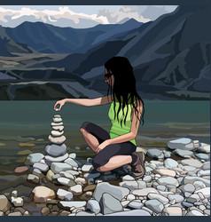 cartoon woman creates a pyramid of stones vector image