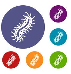 Cell of dangerous virus icons set vector
