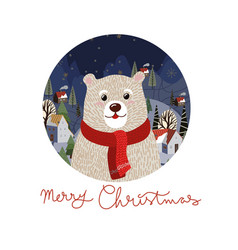 christmas card with cute polar bear in a red scarf vector image