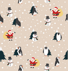christmas santa claus snowman and penguin with vector image