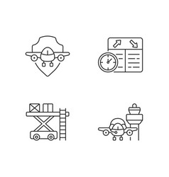 Civil aviation safety flights linear icons set vector