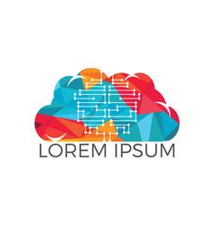 cloud networking modern technology logo design vector image