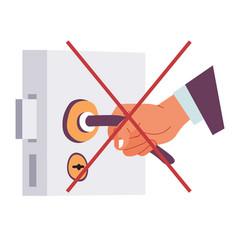 Coronavirus precautions avoid touching objects in vector