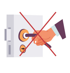 Coronavirus precautions avoid touching objects vector