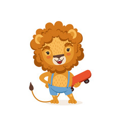 cut kid lion cartoon character wearing shorts on vector image