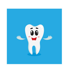 cute and happy shiny white tooth character vector image
