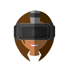 Cute girl virtual reality glasses technology vector