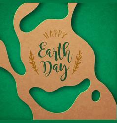 earth day green paper cut april 22 cutout card vector image