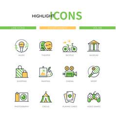 Entertainment - modern line design style icons set vector