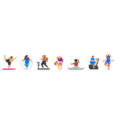 fitness fat girls plus size health sport in club vector image