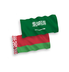 Flags saudi arabia and belarus on a white vector