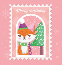 fox with hat and scarf tree snow merry christmas vector image