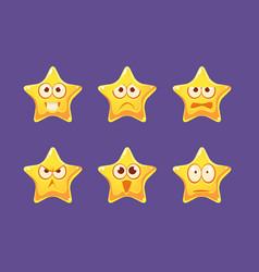 glossy star characters set bright star vector image