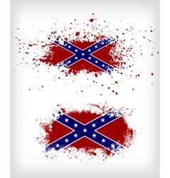 Grunge confederate flags set vector