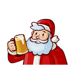 Happy santa claus with mug of fresh beer in hand vector