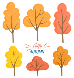 hello autumn set yellow and orange trees vector image