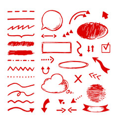 Highlight doodle select arrow marker icons vector