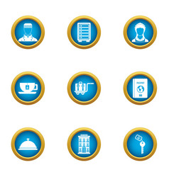 Hotel business icons set flat style vector