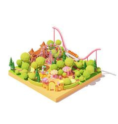 isometric amusement park map vector image