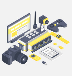 isometric building with different technologies vector image