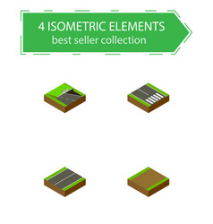 Isometric way set of pedestrian footpath plane vector