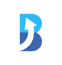 letter b up arrow logo icon blue concept vector image