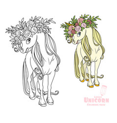 Magical unicorn in wreath roses color and vector