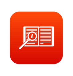 Magnifying glass over open book icon digital red vector