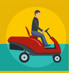 Man at grass cutting machine icon flat style vector