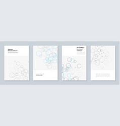 minimal brochure templates with hexagons and lines vector image
