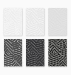 monochrome geometric seamles pattern set vector image
