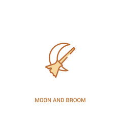 Moon and broom concept 2 colored icon simple line vector