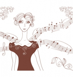 music retro girl background vector image vector image