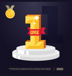 Number one with red ribbon winner concept modern vector