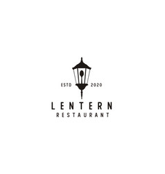 old lantern with spoon for restaurant vintage vector image