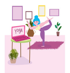 Online yoga young woman stretching yoga exercises vector