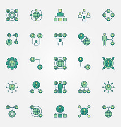 outsourcing colored icons set - outsource vector image