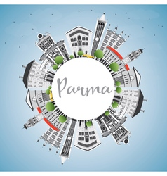 Parma Skyline with Gray Buildings Blue Sky vector image