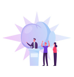 people support speaker candidate standing on vector image