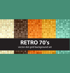 Polka dot pattern set retro 70s seamless vector