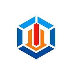 polygon geometry construction building logo vector image