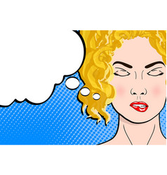 pop art retro comic style blond woman with close vector image