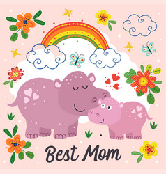 poster with cute hippo mother and baby vector image