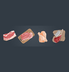 raw uncooked meat pork fillet bacon slices vector image