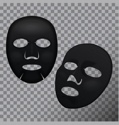 Realistic black facial cosmetic sheet mask vector