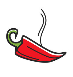 Red hot chili peper with steam isolated vector