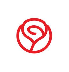 red rose flower logo design vector image