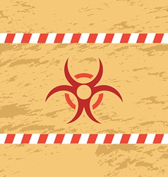 Retro red biohazard on yellow background vector image