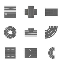 Road constructor icons set cartoon style vector